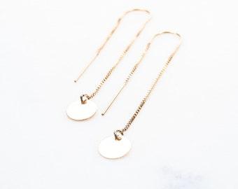 Aniani threader earrings - Gold Ear Thread Earrings, Ear Threader Earring, Gold Sequin Earrings, Gold Earring, Gold Dot, Gold Dangle Earring