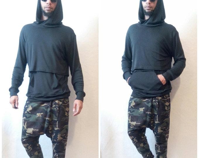 Layered Croptop Hoodie Combo Two Piece Set FOG Yeezy Sleeveless Shirt Hood Crop Top Black