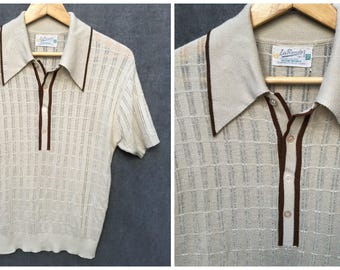 50's 60's La Ronde Mod Button Polo // Men's Size Medium