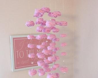 Pink Rose Flower Felt Mobile