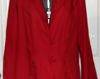 Vintage Evening Jacket  - Blazer - Red - Wedding - Lace Insets - Unlabeled