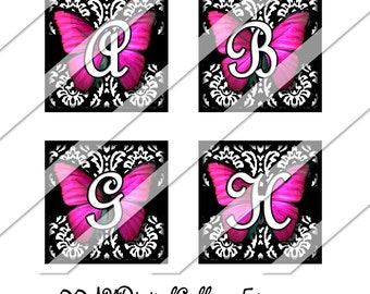 Pink Butterfly Damask Alphabet Digital Collage Sheet, One Inch Square, Instant Download, Whimsical, Custom Letter, Images, Personalized