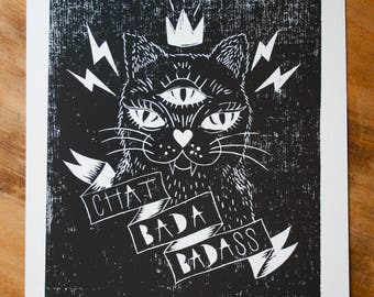 Bad ass Cat linoprint