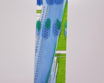 Blue Thought Original Artwork Bookmark, Handmade Bookmark, Unique Bookmark, Gifts for Readers, Page Marker