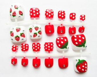 24 Fake Toenails / Kawaii / Strawberry / Sweet Lolita / Toe nails / Pedicure / Press on / False / Toenails / Summer / Cute