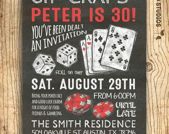 Casino invitation for poker party birthday - 30th birthday or 40th 50th 60th over the hill surprise party invitation- DIY casino invite