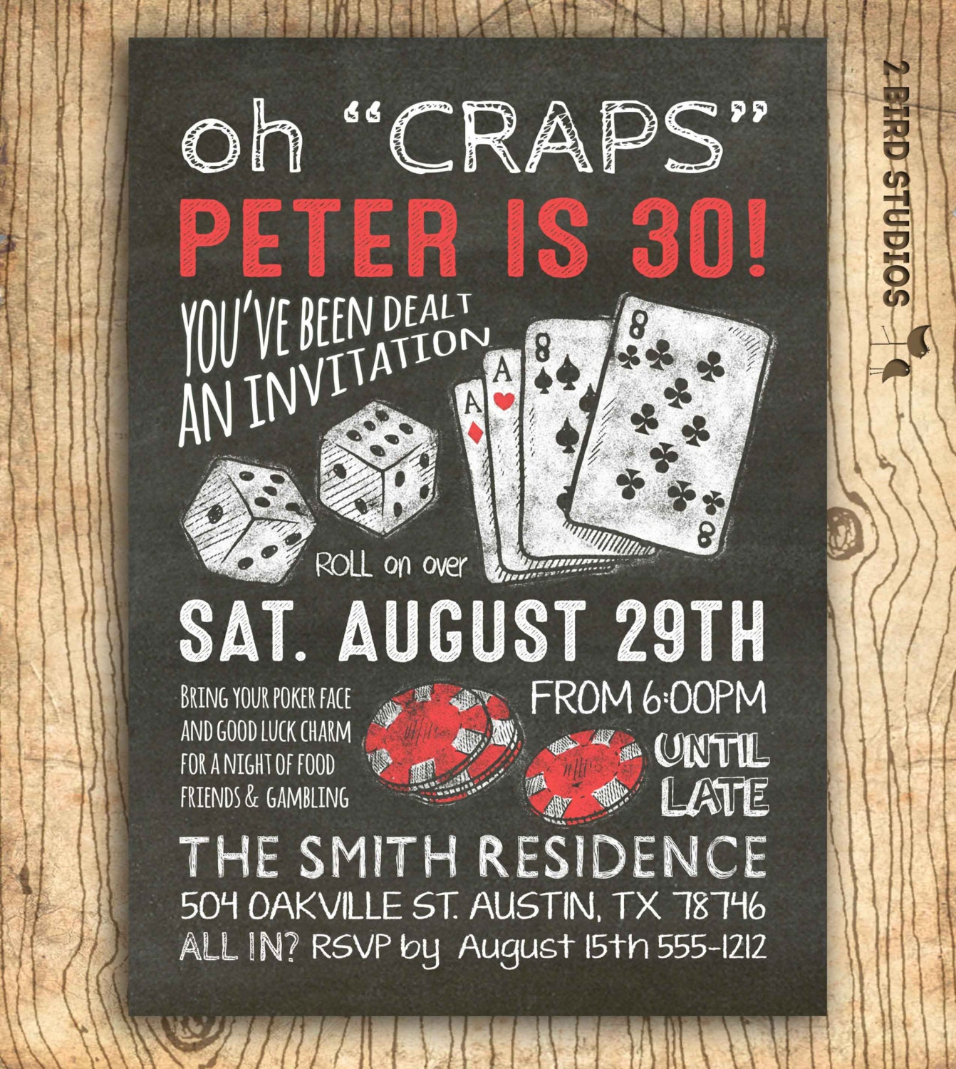Casino invitation for poker party birthday 30th birthday or