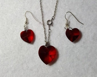 Birthstone July Ruby Red Earrings and Necklace Set