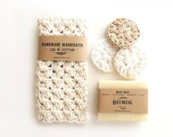 Gift set, Handmade crochet washcloth, Natural soap, gift for her, gift for mom, Mothers day gift for women, homemade soap, face scrubiess