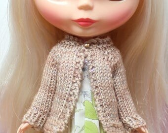 BLYTHE doll hand knit wool cardigan sweater - Rosy beige sparkle