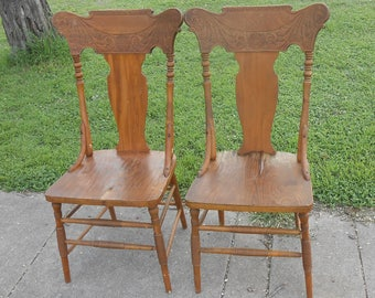 Antique Pressed Back Pair Of Oak Wood Chairs Solid And Sturdy Vintage Farmhouse Cottage Shabby