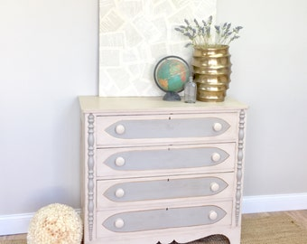 Antique Chest of Drawers - Unique Bedroom Furniture - Distressed Dresser - Farmhouse Style - Hand Painted Dresser