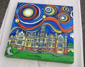 Harlaxton College in Grantham, England - A 20x20 Original Acrylic Painting on Canvas - Pop Art - Color Your World