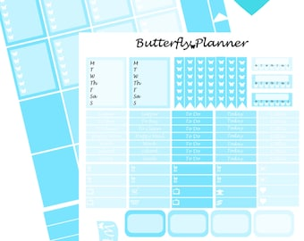 Baby Blue Printable Planner Stickers, 2 Pages, Digital Download, Light Blue