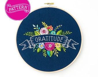 Flower Embroidery Pattern, Floral Embroidery Design, Flower Pattern, One Word, PDF Pattern, Hoop Art, Hand Embroidery, Floral Letter