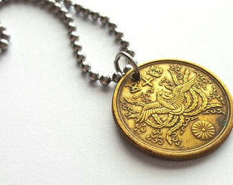 Asian Coin Necklace  - Stainless Steel Ball Chain or Key-chain