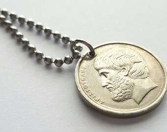 1982 Greek Coin Necklace  - Stainless Steel Ball Chain or Key-chain - Greece