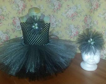 Pageant Boutique infant girls 2pc Black and Silver tulle tutu dress with matching hairbow Infant size 0-3 month 3-6 month 6-9 month 12 month