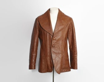 Vintage 70s LEATHER JACKET / 1970s Brown Leather Oversized Lapels Fitted Pimp Jacket M