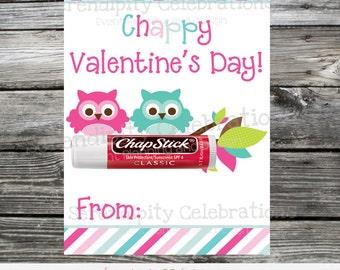 Instant Download, Printable Valentine Card, Chapstick Valentine Favors, Valentine Non Candy Treats, Valentine Favors, Chappy Valentines Day