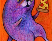 Purple Cat Loves Pizza Card - Cat Card - Purple Card - Pizza Card - A7 Greeting Card