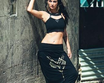 Harem pants - Black drop crotch pants - Modal harem pants - Printed harem pants