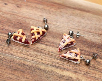 Cherry Pie earrings - miniature food jewelry - kawaii pie - kawaii jewelry - hypoallergenic, food jewelry