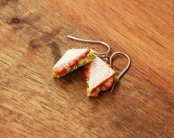 Food Jewelry vegetable Sandwich earrings hypoallergenic- Miniature Food Jewelry, Handmade Jewelry, Mini Food Jewelry, toast earrings
