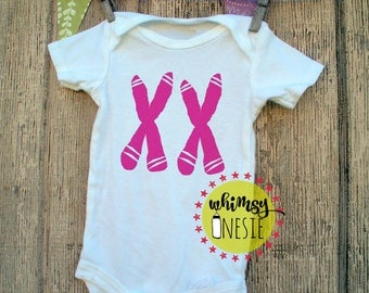 XX chromosome FEMALE girl baby onesie science, geeky, nerdy, funny, birth announcement Whimsy Onesie pink medical