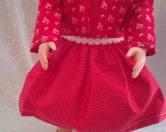 """18"""" doll clothes Red Polka Dot/Lace Dress Red Print Jacket/Love Necklace/pink Polka Dot Shoes handmade to fit American Girl Free Shipping"""