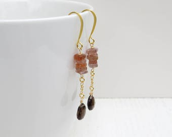 Sunstone earrings, Smoky quartz earrings