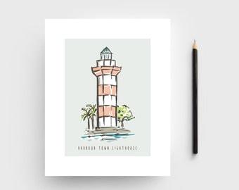Hilton Head Island Print; Harbour Town Lighthouse Artwork