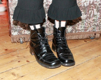 Vintage 70s Black Patent Leather Ankle Boots