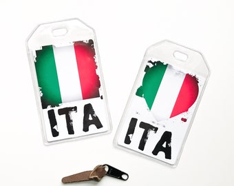 Italian Flag Luggage Tag, Personalized Honeymoon Gifts For Travelers, Italy Soccer