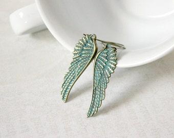 Turquoise Feather Earrings - Verdigris Patina Earrings - Angel Wing Earrings - Long Lightweight Earrings - Rustic Jewelry - Boho Earrings