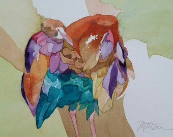 """Feather Song Series """"Glorious Feather's and Skinny Legs"""" original one of a kind watercolor"""