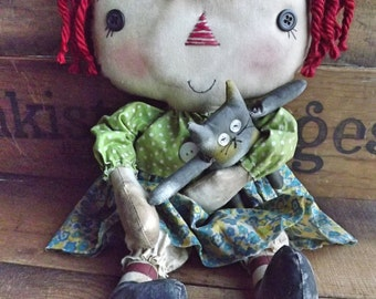 Primitive Rag Doll Calico Cat Rag Doll Primitive Raggedy Doll Home Decor Cloth Doll