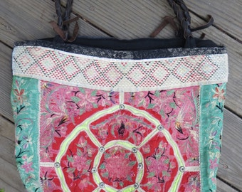 Vintage Thai antique embroidery textile huge purse cross body bag tote braided leather straps hippie boho