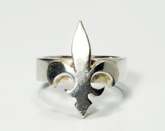 Fleur de Lis Ring, Fleur de Lis Jewelry, Silver Fleur de Lis Ring, Sterling Silver Fleur de Lis Ring