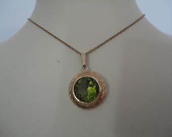 Vintage Gold Plate and Pale Green/Peridot Colour Pendant with Chain by Kordes and Lichtenfels (K & L) of Germany - Fully Marked - A M Double