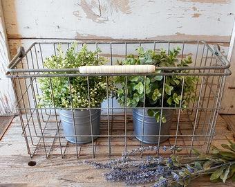 Vintage Galvanized Wire Basket With Handle / Garden Decor Hangable Basket