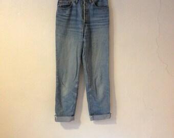 1980's Levi 901 Straight Leg High Waist Light Blue Denim Jeans Distressed