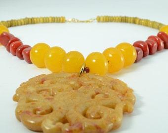 Carved jade dragon pendant talisman pendant necklace