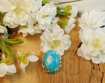 Turquoise & Pyrite Necklace, Arizona Turquoise 29.60 Carats 26.82 x 10.21 mm Turquoise Stone, December Birthstone,  Authenticity Certified