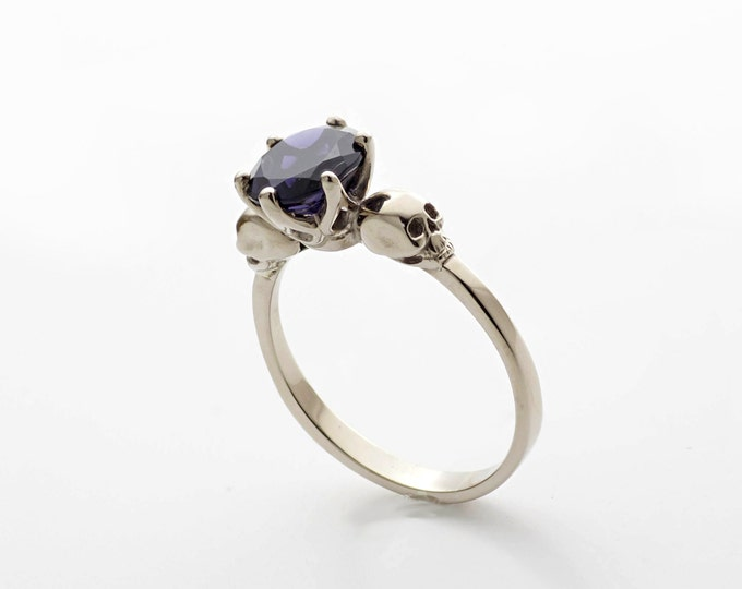 White Gold Skull Engagement Ring with Blue Gemstone Iolithe - All Sizes