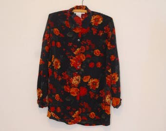 Oversized, Navy Floral Print Silk Blouse - 1980s