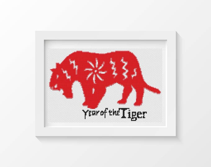 Mini Cross Stitch Kit, Embroidery Kit, Art Cross Stitch, Year of the Tiger (TAS115)