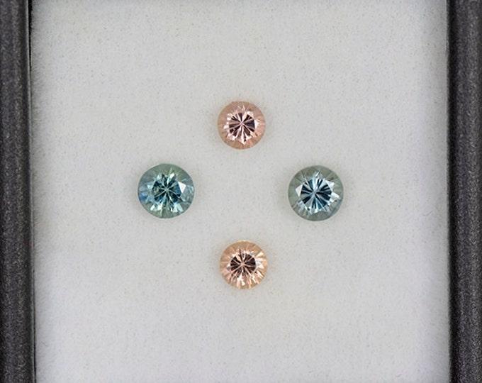 Sparkling Blue and Peach Sapphire Gemstone Set from Montana 1.17 tcw.