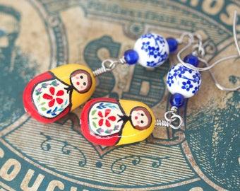Nesting Doll Jewelry, Matryoshka Earrings, Matryoshka Doll Earrings, Hand-Painted Floral Nesting Doll Earrings, Russian Doll Earrings