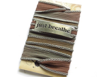 Wrap Braclet Yoga Bracelet Silk Wrap Bracelet Yoga Jewelry Bohemian Brown Spiritual Bracelet Meditation Fall Wrist Wrap Zen Namaste Jewelry